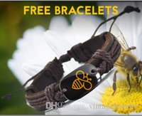 Wholesale American Earth - Preserve Bee Leather Bracelet Popular Handmade Bracelets for Men and women save earth bracelet YP2690