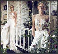 Wholesale Unique Designer Wedding Gowns - Lace Wedding Chiffon Gown Sleeveless Customize Formal Wear Cheap Price Sexy Designer Wedding Gown Long Bridal Gown Garden Unique Design
