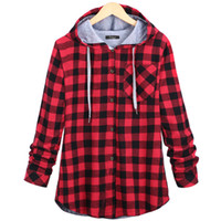 Wholesale plaid hoodie women - Fashion Women Spring Autumn Red Blue Cotton Casual Button Hooded Sweatshirt Oversize Coat Ladies Long Sleeve Plaid Hoodies Plus 2XL