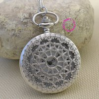 Wholesale Ladies Fob Watch Necklace - Wholesale-fashion silver woman ancient pocket watch necklace ladies women fob watches with long chain hour retro vintage good quality hot