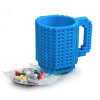 Wholesale Hot Coffee Drinks - Hot Drinkware Building Blocks Mugs DIY Block Puzzle Mug 12oz Build-On Brick Creative Mug Lego Type Coffee Cup Free Shipping