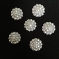 Wholesale 14mm Plastic Pearls - 40pcs 14mm white plastic Pearl flower round shape Scrapbook Craft Flatback DIY wedding decoration Clothing accessories B161