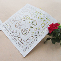 Wholesale paper lace doilies - Wholesale-N8 New Arriving! Create and Craft 25.4cm=10 Inch White Square Paper Lace Doilies Placemat Wedding Decoration-100pcs lot