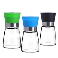 Wholesale Cheap Salt Pepper - Cheap wholesale colorful plastic stainless cap salt and pepper grinder set, plastic glass salt and pepper grinder set pepper mill set