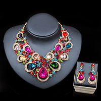 Wholesale Ethiopian Earrings - 20New arrival Ethiopian crystal gold plated necklace and drop earrings jewelry set trendy for women wedding or party free shipping