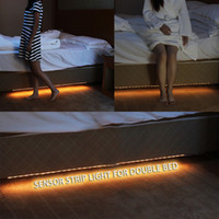 Wholesale Motion Sensor Red Led - Wholesale- 2PCS LED Night Light Strip Smart Turn ON OFF Double Bed AC85V-265V 220LM 36LEDs SMD3528 PIR Motion Sensor Light Control