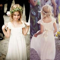Wholesale Lace White Dress For Girls - Boho Beach Cap Sleeves Flower Girl Dresses 2017 White Ivory Lace Chiffon Girls Kids Formal Dresses for Wedding with Sash First Communion