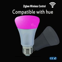 Wholesale Hues Color - Wholesale-ZigBee Color Lamp wifi or Wireless Remoter Link E27 9W RGBW Smart Bulb Compatible With Hue bridge 1.0 and 2.0 Control By Hue App