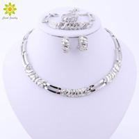 Wholesale Silver Necklace Bracelet Elegant - Elegant Fashion Silver Plated Jewelry Sets Austrian Crystal African Beads Necklace Earrings Ring Bracelet Set For Women