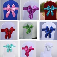 Wholesale Multicolor Chair Sashes - Bowknot Chair Sashes Multicolor Wedding Chair Cover Band High Quality Wedding Decoration Home Dining Room Decor