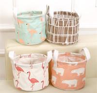 Wholesale Cotton Storage Basket - Cartoon Round Cotton Linen Desktop Storage Box Sundries Storage Organizer Stationery Cosmetic Storage Basket Container Case