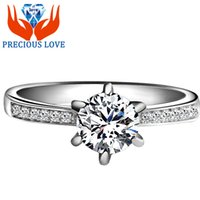 100% 925 Sterling Silver Clássico Six-prong Ajuste Channel-set Brilhante anel de noivado SONA Diamonds