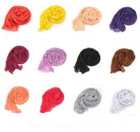 Wholesale Scarfs For Cheap - Cheap 24 Colors Solid Scarves Cotton Voile Classy Women Shawls Fold Plain Ladies Wraps Soft Fringes Autumn Scarf For Girls Size 170*90 CM