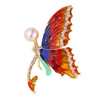 Wholesale dancing brooches pin - U7 Jewelry Dancing Butterfly Brooch Luxury Austrian Rhinestone Synthetic Pearl Butterfly Decor Pin For Wedding Party Gift B2727K