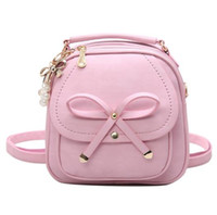 Wholesale Back Bags For Girls - Shoulder bag for teenage girls Rucksack Bow women PU mini Tassel backpack Women back pack Leather Backpack