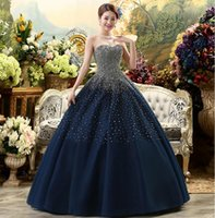 Wholesale Tube Tops Images - 2017 Free Shipping New Dark Blue High-Grade Sequins Sexy Tube Top Dress Tulle Large Hand-beaded Pants Skirt Prom Dress HY1617