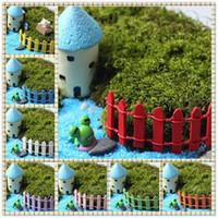 ingrosso bonsai terrarium-100pcs Mini Piccolo Recinto Barriera di Legno Resina Artigianale In Miniatura Fata Giardino Terrario Branch Palings Vetrina Decorazione Bonsai