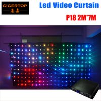 P18 2M * 7M Fire Proof cortina de vídeo LED com controlador ON / Off Line Para Backdrops de casamento DJ 90V-240V Tricolor Light Curtain