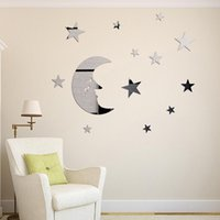 Wholesale Childrens Cartoon Stickers - Stars And Moon Combination 3D Mirror Stickers Childrens Wall Stickers Home Diy Mirror Decorative Combination Diy Moon Stars Wall Sticker