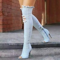 Wholesale Denim Over - 2017 Tall Boots SKINNY DENIM Hole shoes Peep Toe High Heel Over Knee Length Slim Leg Tall Sex Long Boots