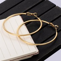 Wholesale Big Yellow Earrings - Europe and America Fashion Personality Earrings 18K Yellow Gold Plated Big Ear Hoops for Women for Party Factory Wholesale Price