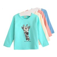 Wholesale Models Girls Korean - Wholesale- 2016 Spring burst models of child Korean boys and girls T-shirt round neck cotton tops pajamas cartoon t-shirt free shipping
