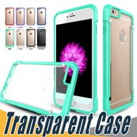 Wholesale Defender Case Galaxy - For iPhone 8 7 7S 6S 6 Plus 5 5S SE Transparen Clear TPU PC Cell Phone Case Defender Cover For Samsung Galaxy S8 S7 Plus J7 J5 S6 Edge