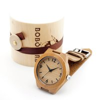 Wholesale Japanese Watches For Men - Wholesale- 2016 Men Women's Wood Watch Japanese Movement 2035 Bamboo Wooden Watches with Genuine Leather Wristwatches for Christmas Gifts