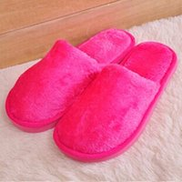 Wholesale Home Buttom - Wholesale- Candy Solid Color Slippers Warm Indoor Slippers Women Pantufas Plush Home Shoes Floor Slippers Soft Buttom Shoes For Confinement