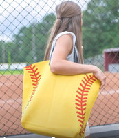 Wholesale new yellow softball white baseball Jewelry Packaging Blanks Kids Cotton Canvas Sports Bags Baseball Softball Sports Tote Bag