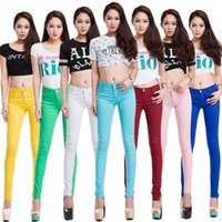 Wholesale Ladies Candy Color Pants - 20 Colors Plus Size 2017 New Sexy Women Pants Spring Summer Casual Jeans Pencil Pants Lady Skinny Sexy Long Trousers Candy color