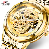 Wholesale Hollow Automatic Gold - 2017 new Men's Watch Skeleton Hollow Golden Dragon Mechanical Watch Automatic Winding Waterproof TEVISE Relogio Automatico Masculino