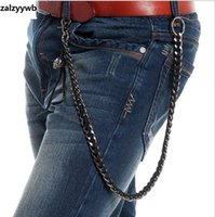 Wholesale Girls Hip Hop Jeans - Men Heavy Gunmetal and Leather Joint Biker Skull Wallet Chains 10mm Width 66cm Key Chain Rock Skeleton Hip Hop Jeans Chain