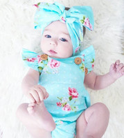 Wholesale Summer Kids Romper Set - INS hot 2017 Baby girl kids toddler Summer 2piece set outfits Rose floral Romper Onesies Diaper Covers Jumpsuits Lace Ruffles + Bow Headband