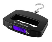 Wholesale Luggage Round - New Black ABS plastic Pocket 50kg 10g LCD Digital Fishing Hanging Electronic Scale Hook Weight Luggage 120mm x 80mm x25mm