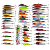 Wholesale Fly Abs - Mixed 8 styles 56pcs lot ABS Plastic Freshwater Fishing Lures Set Minnow Lure Crankbaits Pencil and Rattlin Baits hooks