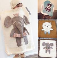 ingrosso coperte di animali di bambino 3d-Bambini Baby Hand Knit Crochet Coperte Animal Wrap Blanket Swaddle Wrap Baby Crochet Swaddle 3D Ins Coperte Aria Condizionata Asciugamani D449