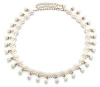 Wholesale Thin White Pearl Belt - Korean fashion ladies woven pearl waist chain casual pendants belly dance waist chain dance clothes decorated thin belt