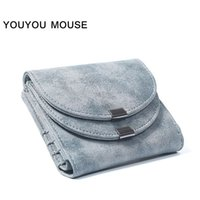 YOUYOU MOUSE New Style Retro Woman Carteira 2 Fold Short Section Wallet Mulheres de alta qualidade Scrub PU Leather Pure Color Women Purse