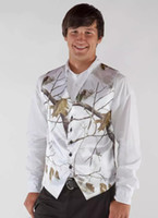 ingrosso maglia bianca-2018 White Real Tree Camo Mens Gilet da sposa Capispalla Groomsmens Gilet Realtree Spring Camouflage Slim Fit Uomo Gilet con collo Custom Made