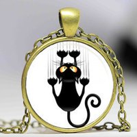 Wholesale Necklace Ideas - New idea Steampunk handmade Black cat necklace 1pcslot bronze or silver Glass Pendant jewelry wholesale free shipping chain men