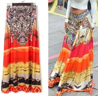 Wholesale Ethnic Floral Pattern - Traditional African style Maxi Vintage Bohemian Flora Printed Ethnic Pattern Hippie Boho Long Skirt Swing Dress Skirts