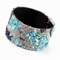 Wholesale Copper Adhesive - Wholesale-FUYA 2016 Bracelet Female Summer Style Woman Leather Bangles Bracelets Crystal Beads Gum Adhesive Magnet Buckle