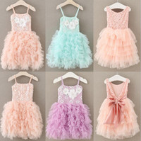 Wholesale Hot Pink Flower Tutu Dress - IN stock 2 styles 4 colors hot selling New Arrivals styles girl Flower skirt Casual girl elegant sling Fashion Princess Dress free shipping