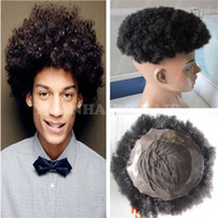 Wholesale men hair toupee quality online - High Quality inch Black Peruvian Virgin Hair Afro Kinky Curl Toupees for Black Men