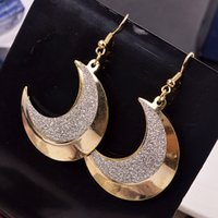 Wholesale Wholesale American Fashion - New Arrival Ms earrings personality Retro Style Moon Teeth Shape Frosted Earring European And American Fashion Star Earbob