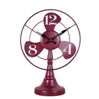 Wholesale Iron Cabinets - Wholesale-Fashion loft wrought iron desk clock vintage living room wine cabinet home bedside electric fan modeling clock