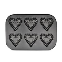 Wholesale Molds Mini Cupcakes - Wholesale- 6 cup Mini Bakeware Heart cake molds cupcake baking pans bread Cake Baking kitchen Tools Nonstick Bakeware Dish