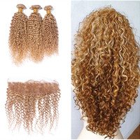 Wholesale Honey Strawberry Blonde - #27 Honey Blonde 13x4 Ear to Ear Full Lace Frontal Closure With Strawberry Blonde Kinky Curly Virgin Malaysian Human Hair Bundles 4Pcs Lot