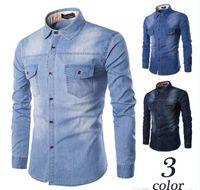 Wholesale 4xl Mens Briefs - 6XL Denim Shirt Plus Size Mens Chemise Homme Casual Solid Brief Shirts With Pockets Long Sleeve Fashion Slim Fit Mens Jeans Shirts J160804